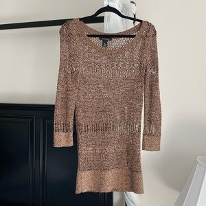 White House Black Market Copper Knit Crotchet Top